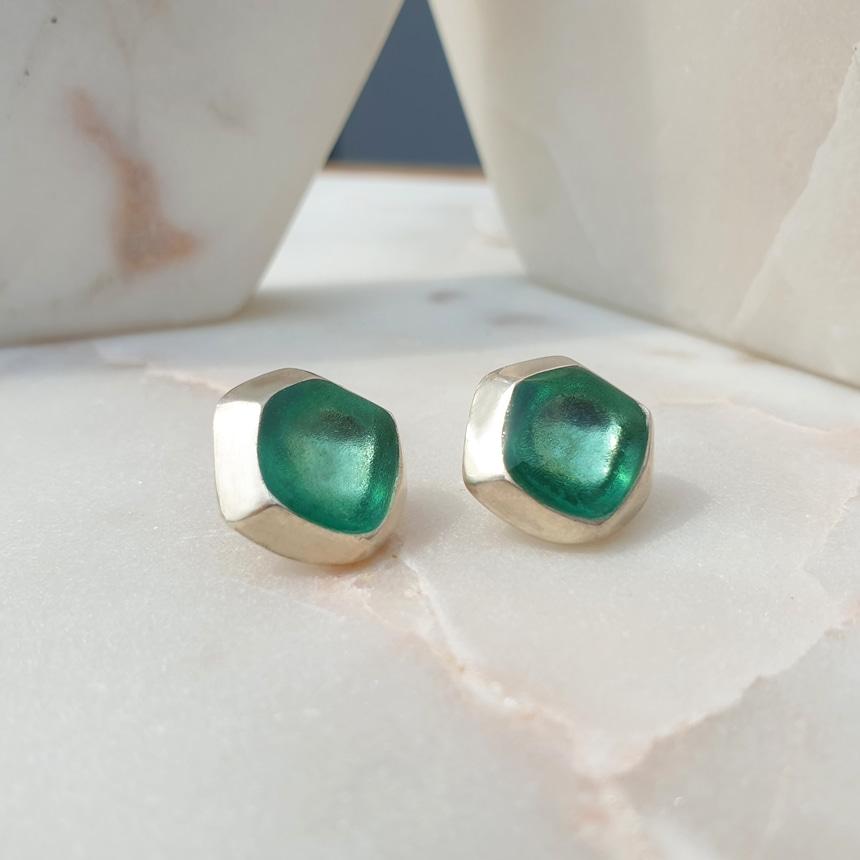 봉보(BONBEAU) 3color 스톤 핀 엔틱 심플귀걸이 Full colored clear Earrings