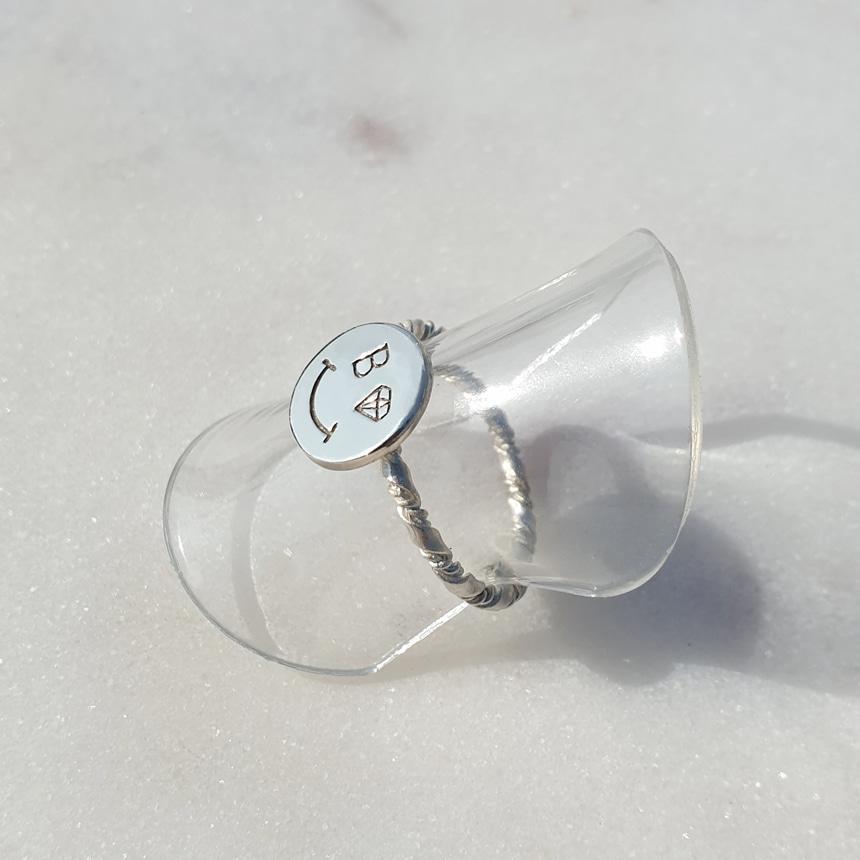 봉보(BONBEAU) 스마일 실버 코인반지 Simple smile coin Ring